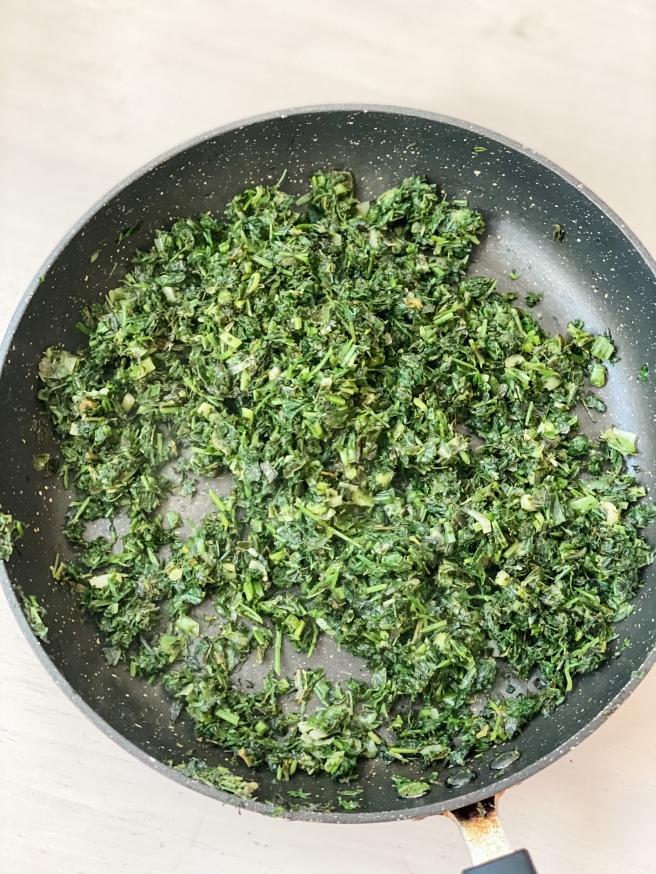 Fried herbs for vegan Persian Food