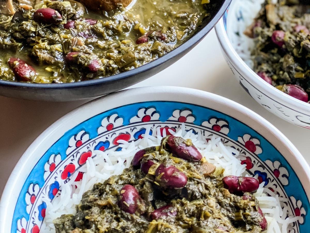 Vegan Persian food Gormeh Sabzi
