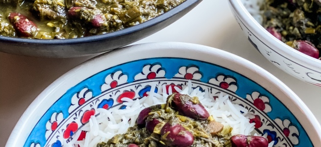 Vegan Persian food Gormeh Sabzi