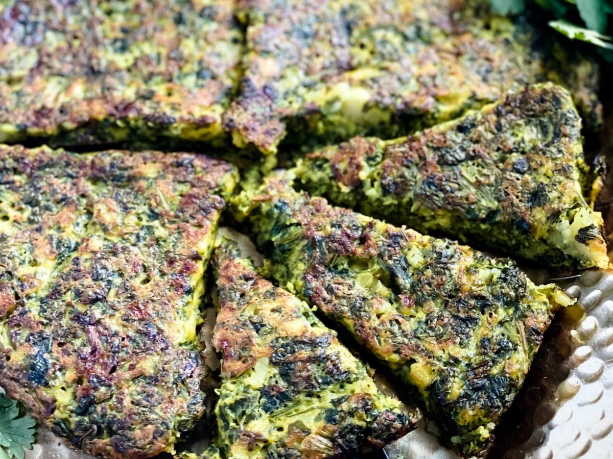 Vegan Persian kuku sabzi