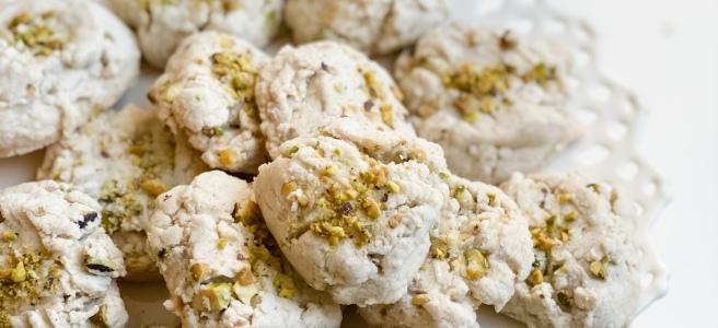 Vegan Persian Pistachio cardamom rosewater cookies